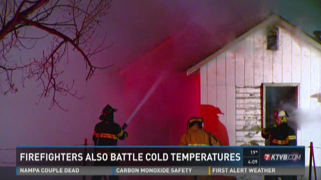 Firefighters also battle cold temps