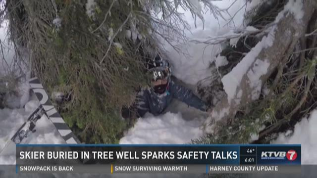 Skier buried in tree well sparks safety talks