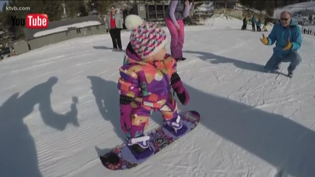 WATCH: Tiny snowboarder hits Bogus Basin for first time