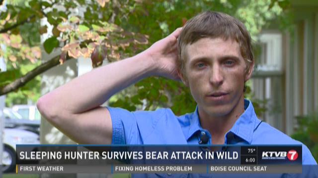 Sleeping hunter survives bear attack in wild